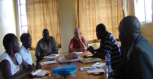 (L-R) Emily Kimosop, Winnie Mwasiaji (SP Secretariat); Simon Ochieng, Geoff Griffith (PALWECO); Samuel Ochieng, OVC- Secretariat and Maurice Ngoleyang, County Coordinator, Social Development Busia during a courtesy call to PALWECO office on 26th July 2013. The team from Nairobi was in Busia on an awareness creation and education mission, among various audience including opinion leaders, beneficiaries and the Media .
